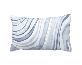 "OUTDOOR Marble Print Throw Pillow or Cover, Dusty Indigo/White 14 x 20"" Lumba Pillows/Covers, Blue Marbled/Waves'/Abstract Pattern"