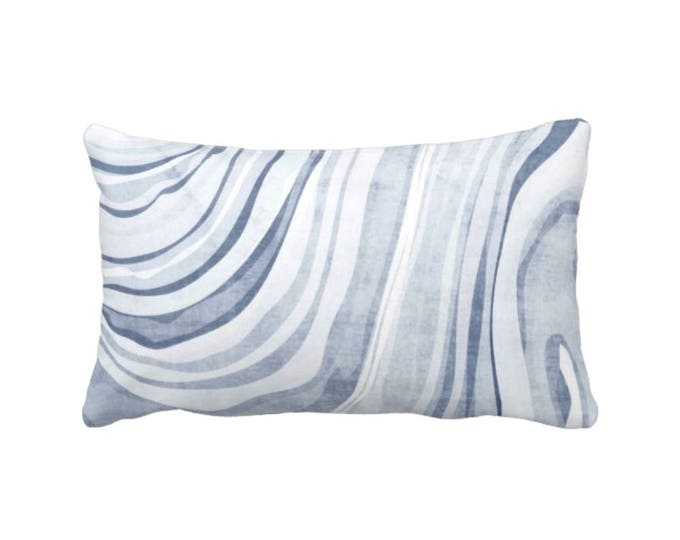 "Marble Print Throw Pillow or Cover, Dusty Indigo/White 14 x 20"" Lumbar Pillows or Covers, Blue Marbled/Waves'/Abstract Pattern"