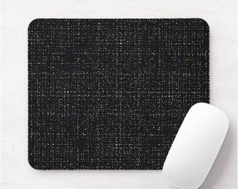 Black Tweed Mouse Pad/Mousepad, Modern Black/Multi Abstract Modern/Minimal Print/Pattern, Simple Geometric Design