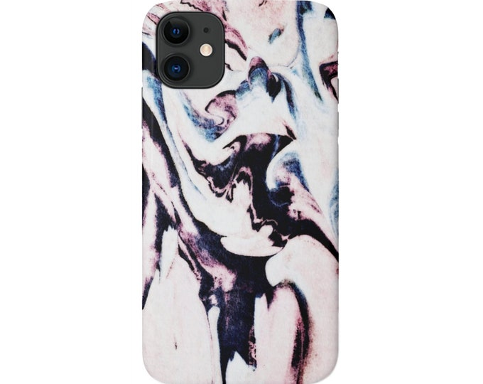 Grunge Abstract iPhone 11, XS, XR, X, 7/8, 6/6S Pro/Max/P/Plus Snap Case or TOUGH Protective Cover, Black/Pink/Purple/Blue Marble/Modern