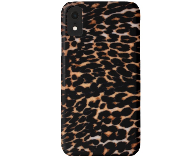 Dark Leopard iPhone 11, XS, XR, X, 7/8, 6/6S, 6 P/Plus/Max Snap Case or TOUGH Protective Cover, Faux Animal Print, Cheetah Camel/Black