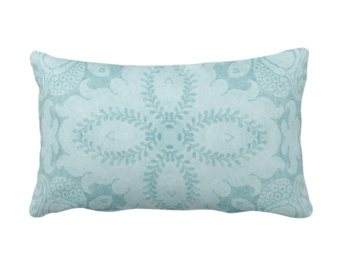 "Nouveau Damask Throw Pillow or Cover, Calm Blue 14 x 20"" Lumbar/Oblong Pillows/Covers Dusty Blue/Green Floral/Batik/Geo/Boho/Tribal Pattern"