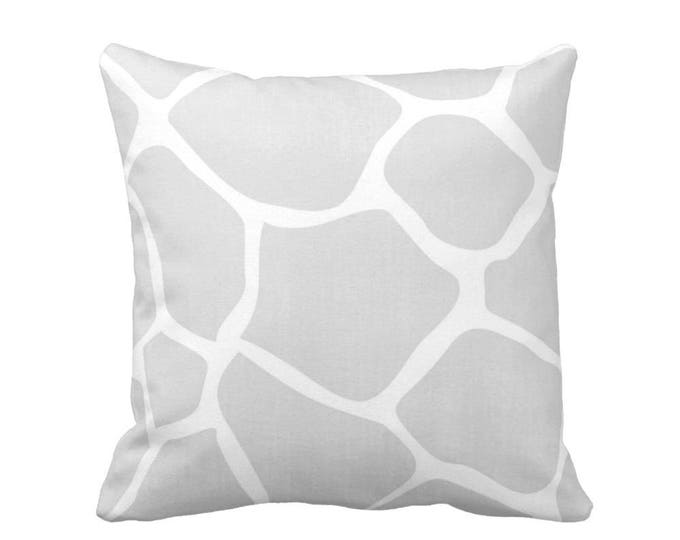 "SALE Giraffe Throw Pillow Cover, Gray, White 18"" Sq Pillow Cover, Grey Modern/Gender/Neutral/Nursery/Safari/Animals/Animal/Print"