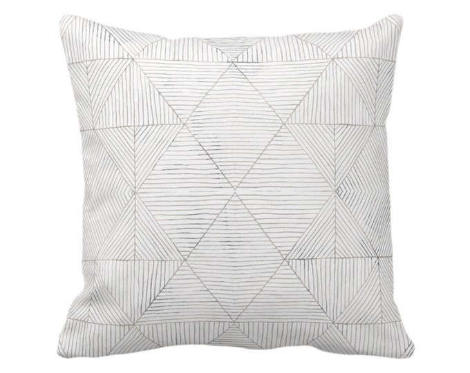 """Fine Line Geo Print Throw Pillow or Cover 14, 16, 18, 20 or 26"""" Sq Pillows/Covers Taupe, Beige/Gray Tribal Geometric/Abstract/Lines/Diamond"""
