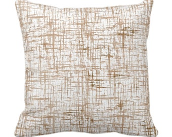 """OUTDOOR Crosshatch Throw Pillow or Cover, Beige/Sand Geometric Print 14, 16, 18, 20, 26"""" Sq Pillows/Covers, Abstract/Lines/Farmhouse Pattern"""