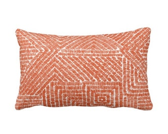 "OUTDOOR Tribal Geo Throw Pillow or Cover, Terracotta 14 x 20"" Lumbar Pillows/Covers, Deep Orange Geometric/Batik/Geo/Diamond Pattern/Print"