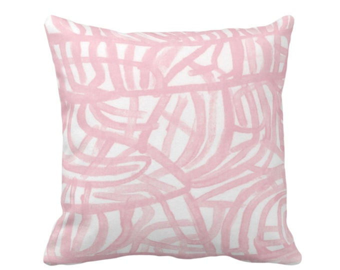"OUTDOOR Avant Throw Pillow or Cover, White/Blossom 16, 18, 20"" Sq Pillows Covers, Light Pink Painted Abstract Modern/Lines/Geometric Print"