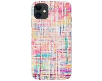 Watercolor TWEED Phone 12, 11, XS, XR, X, 7/8, 6/6S P/Plus/Max, Slim or Tough Protective Cover, Colorful Pink/Aqua Painted/Abstract Galaxy