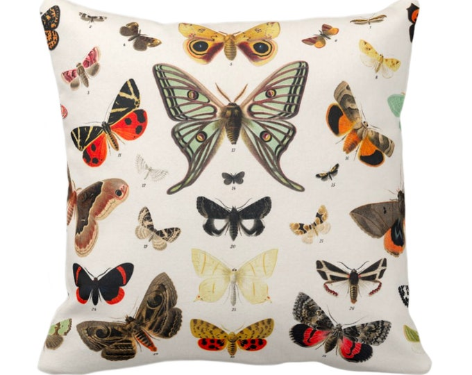 "OUTDOOR Butterfly Illustration Throw Pillow/Cover 14, 16, 18, 20, 26"" Sq Pillows/Covers Colorful Orange/Green/Red/Yellow Butterflies Print"