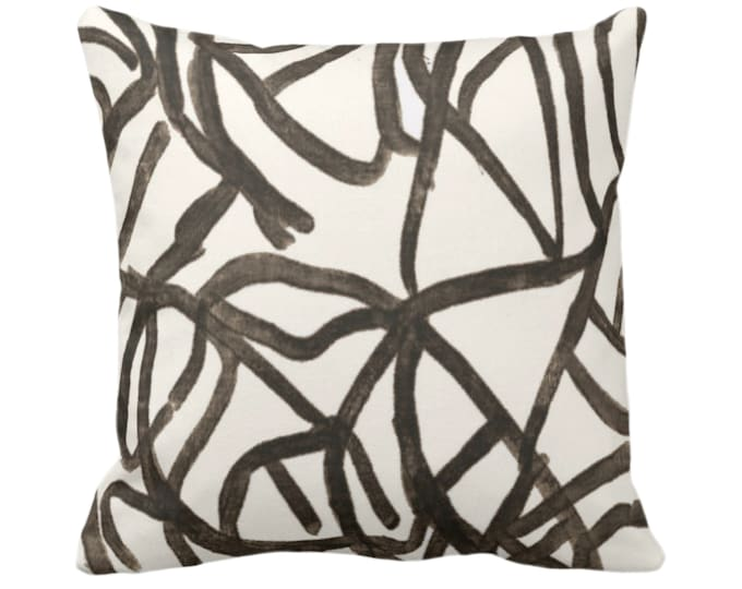 """Abstract Throw Pillow/Cover, Ivory/Smoky Quartz 14, 16, 18, 20, 26"""" Sq Pillows/Covers, Painted Brown/Charcoal Modern/Geometric/Lines Print"""
