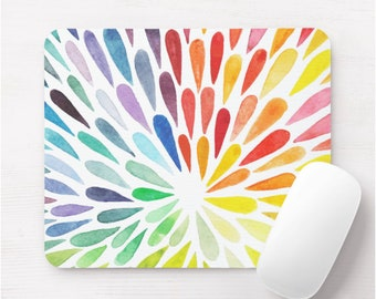 Colorful Watercolor Mouse Pad, Colorful Multicolored Art/Painted Print Mousepad