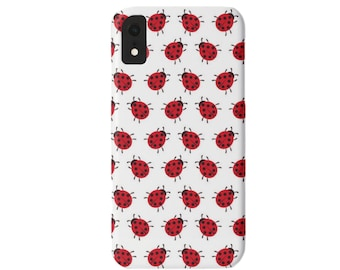 Ladybug Polka Dots iPhone XS, XR, X, 7/8, 7/8 P, 6/6S, 6 Plus/MAX Snap Case or Tough Protective Cover, Red/Black/White Ladybugs/Lady Bugs
