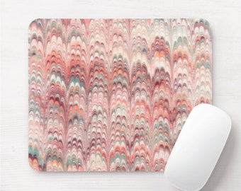 Florentine Paper Mouse Pad, Colorful Pink/Peach Watercolor Mousepad, Coral/Blush/Rose Marble/Marbled Print/Pattern, Hand Painted/Abstract
