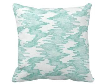 """OUTDOOR Ikat Print Throw Pillow/Cover Jade/White 14, 16, 18, 20, 26"""" Sq Pillows/Covers, Light Abstract Painted Modern/Lines/Geometric Print"""