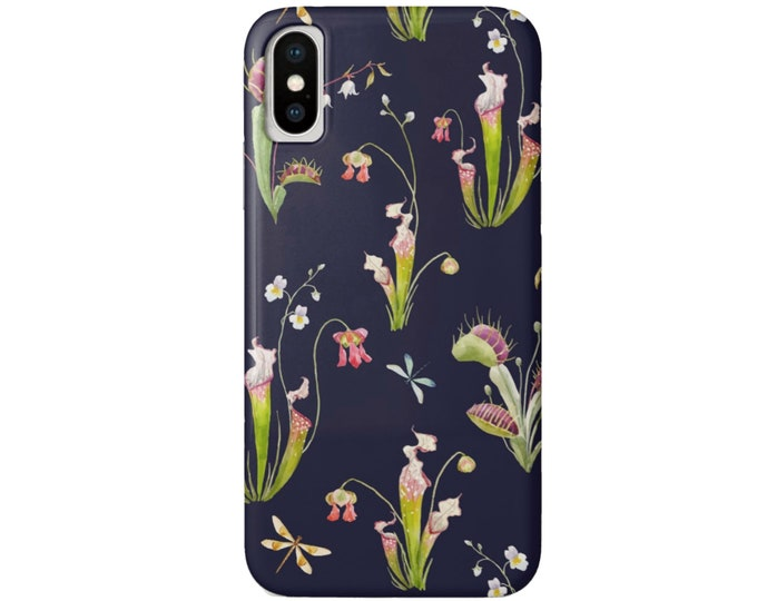 Navy Floral/Botanical Illustration iPhone XS, XR, X, 7/8, 7/8 P, 6/6S, 6 Plus Max Snap Case or Tough Protective Cover Flower/Butterfly Print