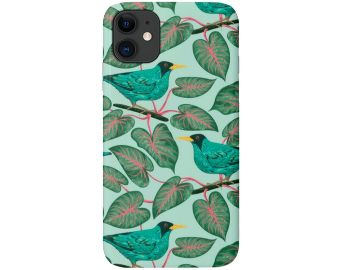 Teal Botanical iPhone 11, XS, XR, X, 7/8, 6/6S Pro/Max/Plus/P Snap-On Cover or Tough Protective Case, Blue/Green/Pink Bird/Leaves, Galaxy lg