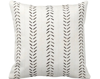 "OUTDOOR Mud Cloth Printed Throw Pillow or Cover, Off-White/Black 14, 16, 18, 20, 26"" Sq Pillows or Covers, Mudcloth/Boho/Arrows/Tribal/Print"