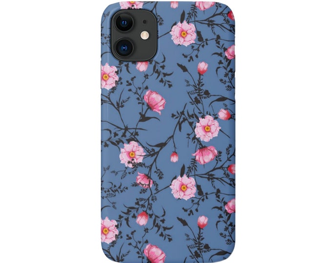 Blue Floral iPhone 11, XS, XR, X, 7/8, 6/6S Pro/Max/P/Plus Snap Case or Tough Protective Cover, Cornflower/Pink Flower Pattern, Galaxy lg