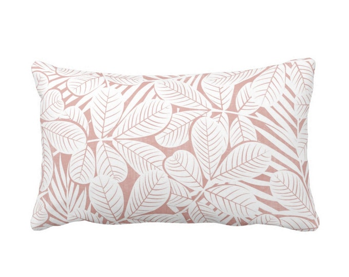 """OUTDOOR Modern Leaves Throw Pillow or Cover, Pink & White Print 20 x 14"""" Lumbar Pillows/Covers, Millenial/Dusty Retro Tropical Print/Pattern"""