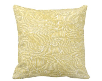"OUTDOOR Sulcata Geo Throw Pillow or Cover, Citron Yellow & White 16, 18 or 20"" Sq Pillows/Covers, Abstract Geometric/Lines/Wavy Pattern"