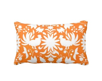 "OUTDOOR Otomi Throw Pillow or Cover, Orange/White 14 x 20"" Lumbar Pillows/Covers, Mexican/Boho/Floral/Animals/Nature Print/Pattern"