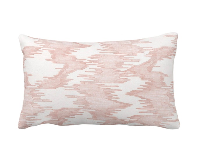 """OUTDOOR Ikat Print Throw Pillow or Cover, Salmon/White 14 x 20"""" Lumbar Pillows/Covers, Abstract/Waves/Water/Stripe/Modern/Lines/ Pattern"""