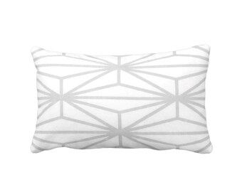 "OUTDOOR Modern Geo Throw Pillow or Cover, Gray/White Print 14 x 20"" Lumbar Pillows/Cover, Light Grey Lines/Japanese/Geometric/Stripe"