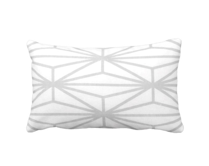 "READY 2 SHIP - OUTDOOR Modern Geo Throw Pillow Cover, Gray/White Print 14 x 20"" Lumbar Pillow Covers, Light Grey Lines/Japanese/Geometric"