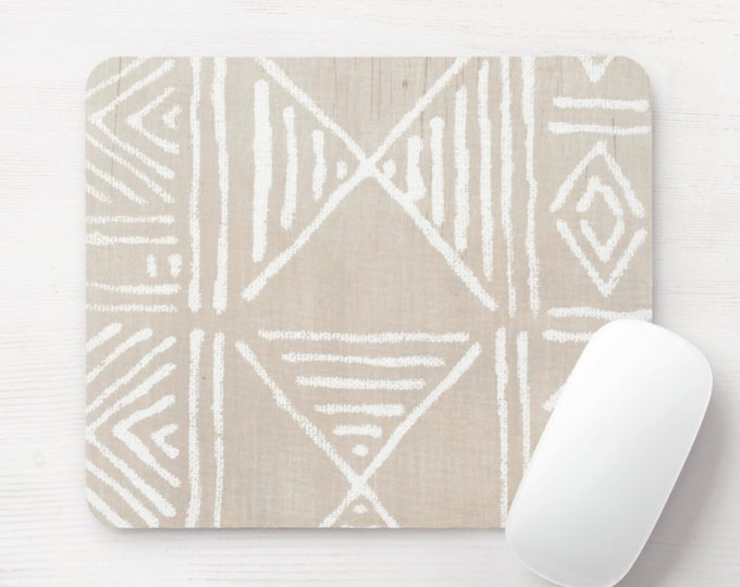 Mud Cloth Print Mouse Pad/Mousepad, Clay & White Mudcloth/Tribal/African/Boho/Geometric/Geo/Diamond Pattern/Design Neoprene Mousepads. Taupe