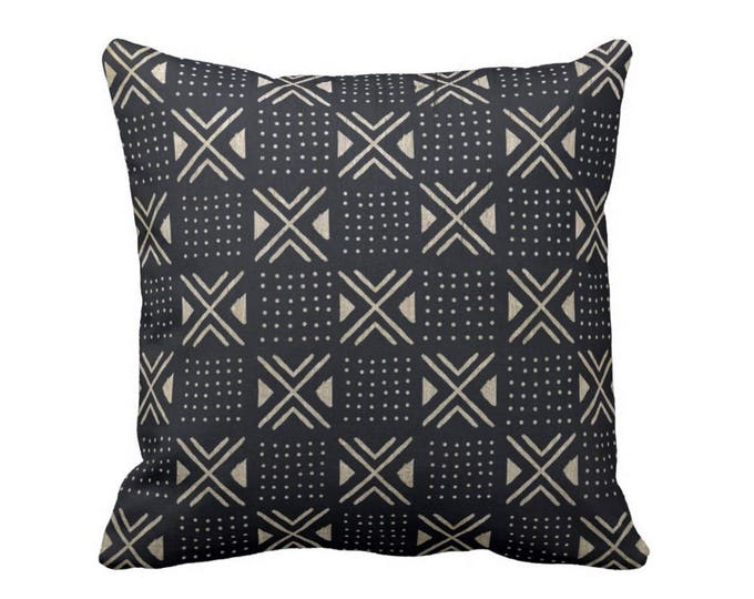 "Mud Cloth Print Throw Pillow or Cover, X's/Dots Black/Off-White 16, 18, 20, 26"" Sq Pillows or Covers, Mudcloth/Geo/Boho/Tribal"