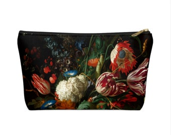Dutch Floral Zippered Pouch, Black Flower Print, Cosmetics/Pencil/Make-Up Organizer/Bag, Still Life/Rose/Roses/Tulips Flowers Pattern/Design