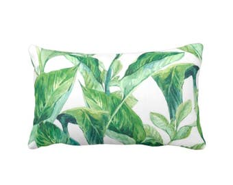 "OUTDOOR Palm Leaves Throw Pillow or Cover, Green/White Tropical 14 x 20"" Lumbar Pillows or Covers, Colorful/Bright Leaf/Jungalo Print"