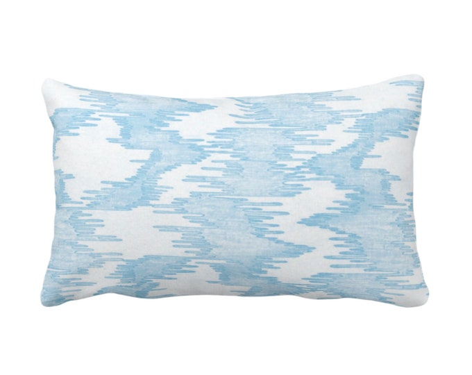 "Ikat Print Throw Pillow or Cover, Blue/White 14 x 20"" Lumbar Pillows/Covers Painted, Abstract/Modern/Lines/Geo/Ikat/Water Stripe Pattern"