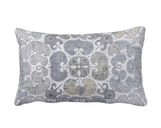 "Batik Scroll Printed Throw Pillow or Cover, Blue/Gray/Multi 14 x 20"" Lumbar/Oblong Pillows/Covers, Vintage Chinese Grey/Beige/Sand Textile"