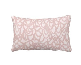"Scribble Lace Throw Pillow or Cover, Dusty Blush 14 x 20"" Lumbar Pillows or Covers, Light/Pink/Rose Modern/Abstract Lines Print"