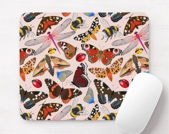 Insect Print Mouse Pad, Pink Vintage Insects/Bugs Pattern Mousepad, Butterflies/Dragonflies/Ladybugs/Bees/Moths, Red/Orange/Yellow/Blue