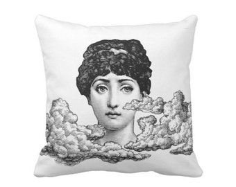 """Fornasetti Face/Clouds Throw Pillow or Cover, Black/White 16, 18, 20, 26"""" Sq Pillows or Covers, Cloud/Woman/Modern/Print/Cavalieri"""
