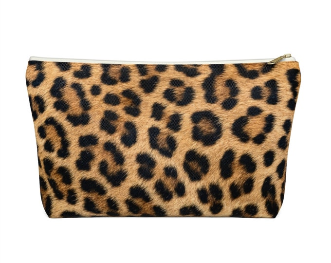 Leopard Print Zippered Pouch, Animal Printed Design, Cosmetics/Pencil/Make-Up Organizer/Bag, FAUX Camel/Black/Caramel Spots/Spot Pattern