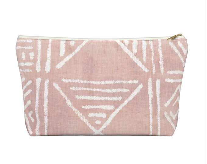 Mud Cloth Geo Print Zippered Pouch, Faded Pink & White Tribal Design, Cosmetics/Pencil/Make-Up Organizer/Bag, Boho/African Geometric Pattern