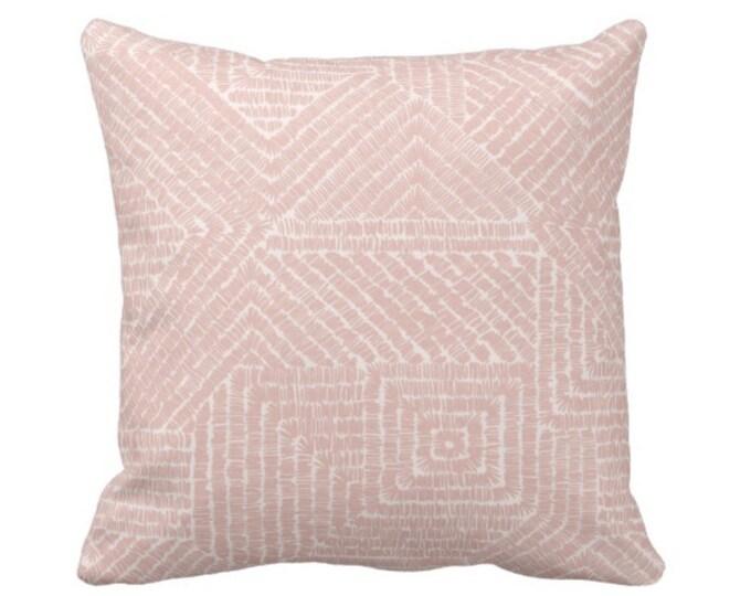 "Tribal Geo Throw Pillow or Cover, Dusty Rose 16, 18, 20 or 26"" Sq Pillows or Covers, Blush Pink Geometric/Tribal/Batik/Geo/Boho/Diamond"