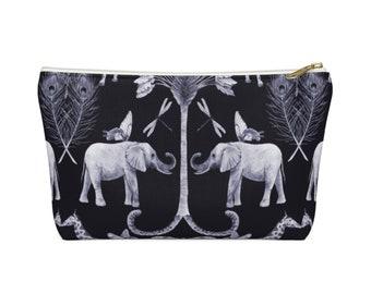 Elephants & Butterflies Print Zippered Pouch, Navy Blue Animal/Insect Pattern, Cosmetics/Pencil/Make-Up Organizer/Bag, Dragonflies/Giraffe