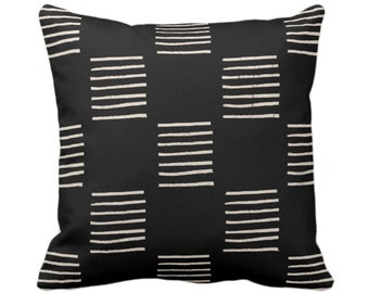 """OUTDOOR Mud Cloth Print Throw Pillow or Cover, Lines Black/Off-White 14, 16, 18, 20, 26"""" Sq Pillows/Covers, Mudcloth/Geo/Boho/Tribal/African"""
