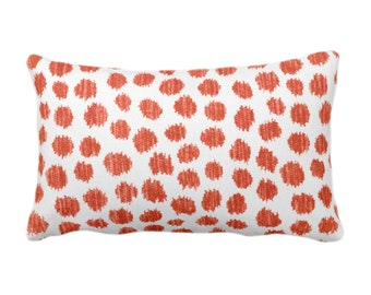 """OUTDOOR Scratchy Dots Throw Pillow/Cover, Rust/White 14 x 20"""" Lumbar Pillows/Covers Dark Orange Scribble/Dots/Spots/Dotted/Geo Print/Pattern"""