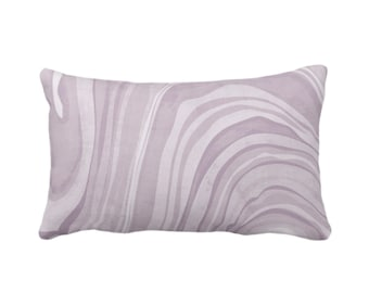 "Marbled Throw Pillow or Cover, Iced Lavender 14 x 20"" Lumbar Pillows or Covers, Dusty Purple Abstract/Wavy/Marble Painted Art Print/Pattern"