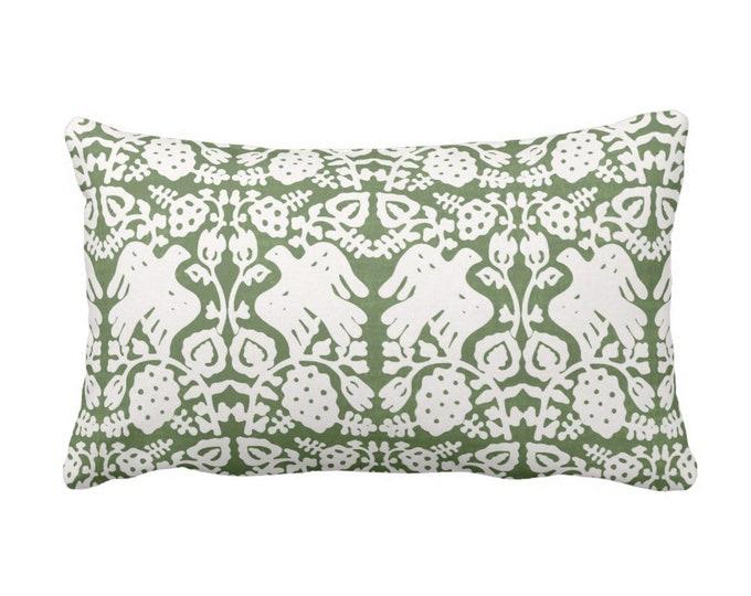 """Block Print Bird Floral Throw Pillow or Cover, Kale 14 x 20"""" Lumbar Pillows or Covers Moss/Olive Green Blockprint/Tribal Print"""
