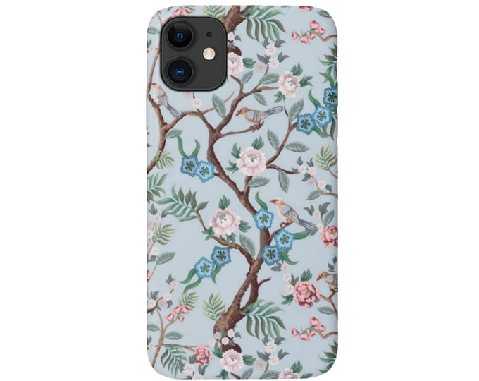 Peony Floral iPhone 11, XS, XR, X, 7/8, 6/6S, Pro/Max/P/Plus Snap Case or Tough Protective Cover, Blue Toile/Bird/Flower Pattern Galaxy LG