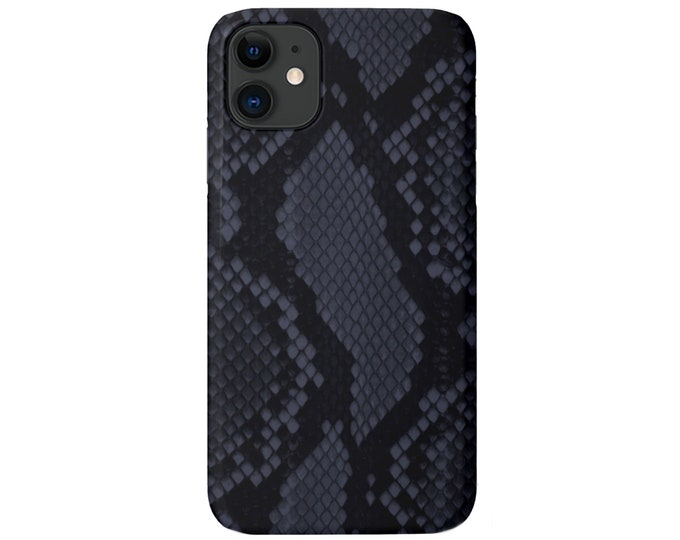 Navy Snakeskin iPhone 11, XS, XR, X, 7/8, 6/6S Pro/Max/Plus/P Snap Case or TOUGH Protective Cover, Blue Snake/Animal Print/Pattern Galaxy lg