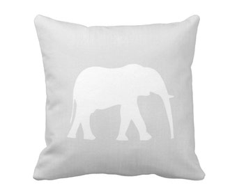 "Elephant Silhouette Throw Pillow or Cover, Gray/White 16, 18, 20 or 26"" Sq Pillows/Covers, Light Grey Modern Neutral Nursery/Safari/Jungle"