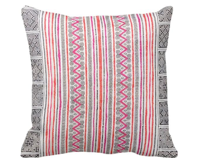 "OUTDOOR Thai Batik Printed Throw Pillow or Cover 14, 16, 18, 20, 26"" Pillows/Covers, Vintage Indigo/Pink/Orange Hmong/Geometric/Tribal Print"