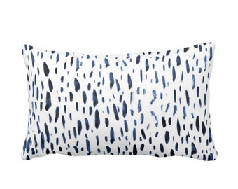 "OUTDOOR - READY 2 SHIP Hand-Painted Dashes Throw Pillow Cover, Navy/White 14 x 20"" Lumbar Covers, Blue Dot/Dash/Abstract/Splatter Print"